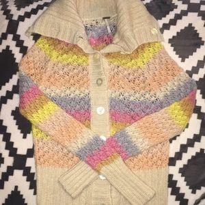 Free people rainbow knit wool cardigan sweater